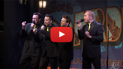 youtube video screenshot portraying the moonRays singing on stage at knott's berry farm